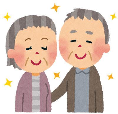 無料素材 仲の良さそうな老夫婦を描いたイラスト家族や敬老の日を