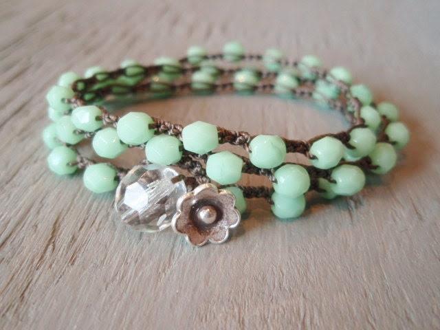 Mint green beaded bohemian crochet wrap bracelet necklace 'Spring Flowers' boho jewelry, minty pastel opal, featured on ETSY's front page - slashKnots