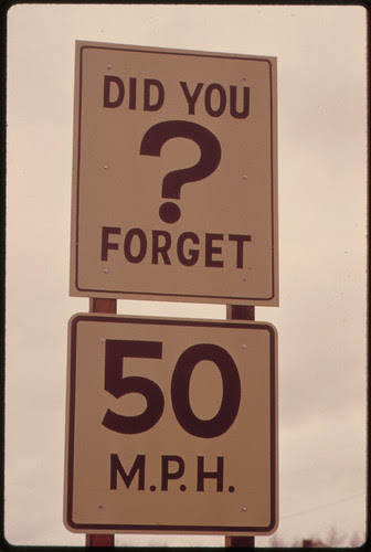 Both Oregon and Washington States Led the Nation in Reducing Driving Speeds to Conserve Gasoline before Federal Limits Were Passed. A Speed Limit Sign and a Reminder Are Shown Along Interstate #5 11/1973