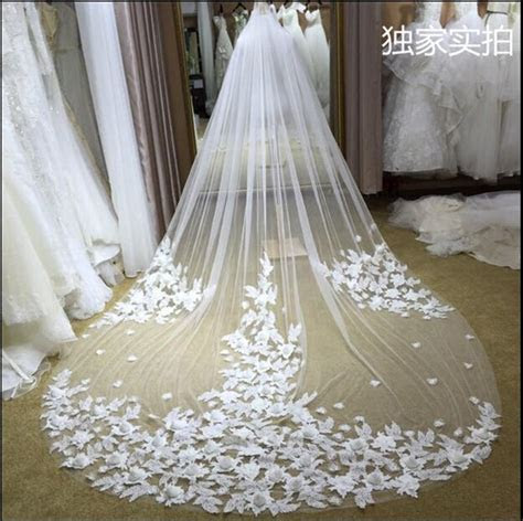 3M Long Cinderella Court Tulle Wedding Veils One Layer