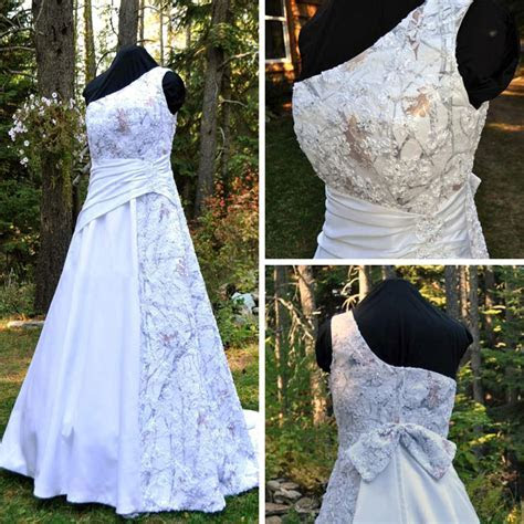 You had me at Camo   White Camo and Lace Wedding Dress