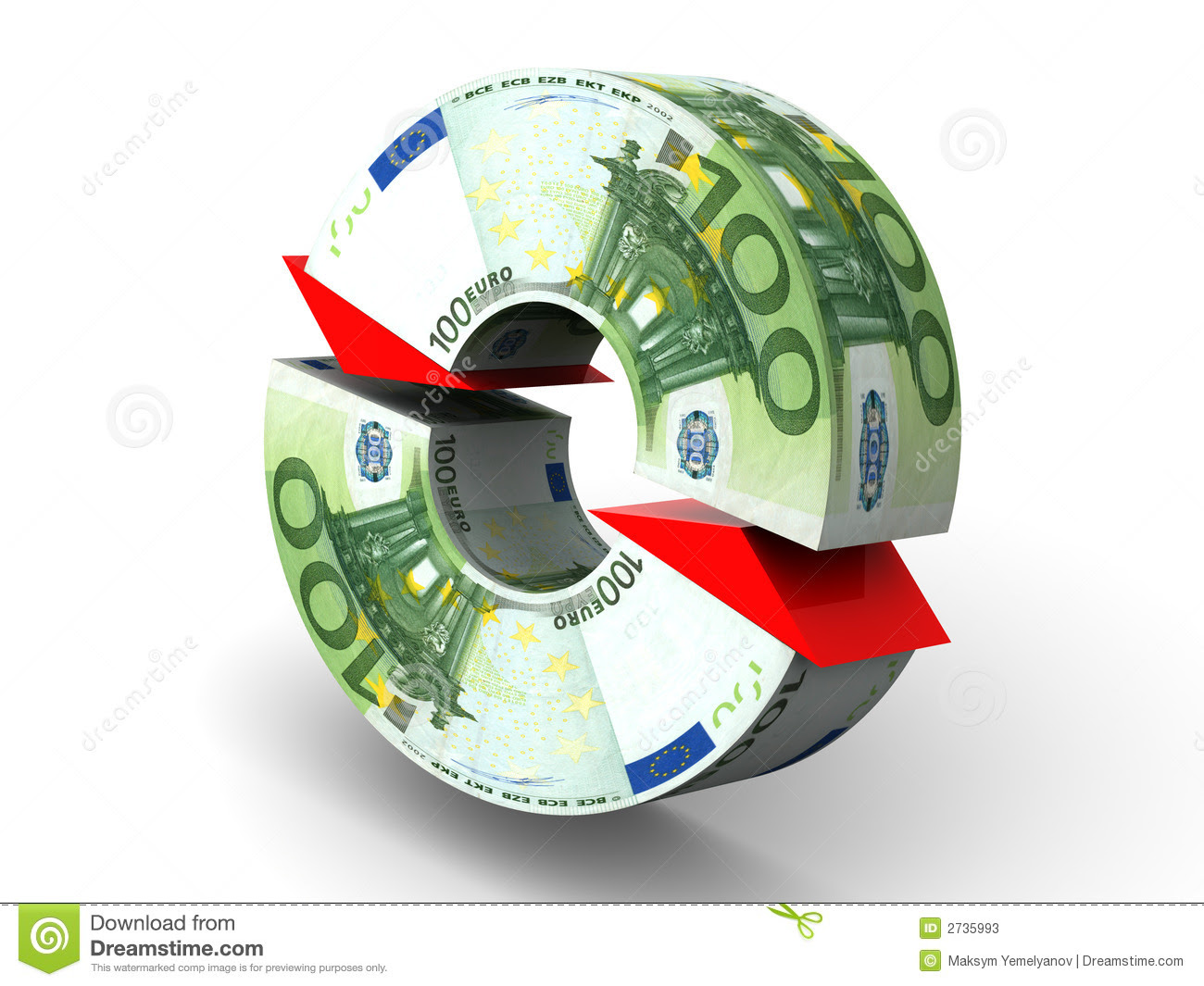 ... three-dimensional illustration, figure. Currency exchange. Euro. 3d