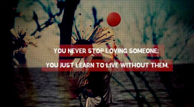 You Never Stop Loving Someone You Just Learn To Live Without Them