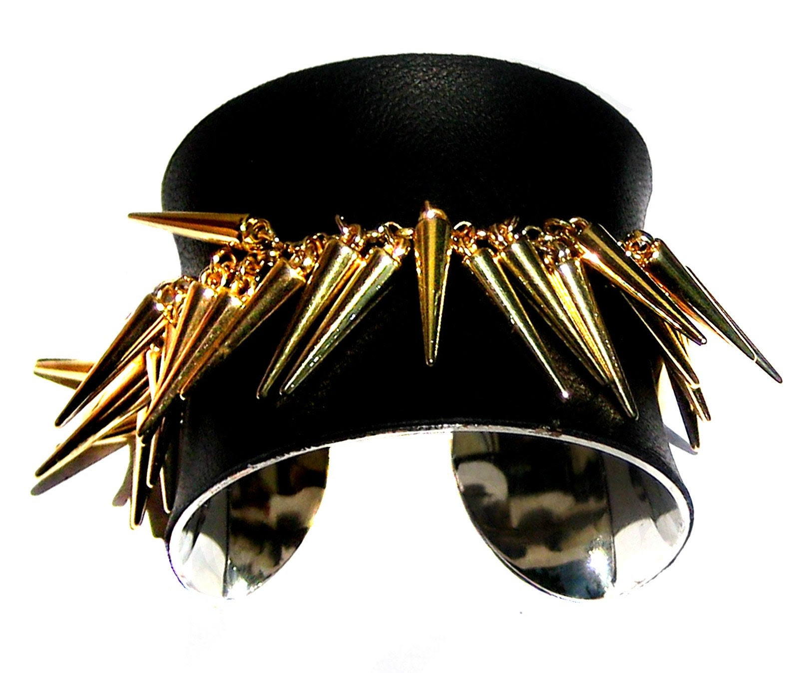 Genuine Black Leather and Gold Spikes Cuff Bracelet