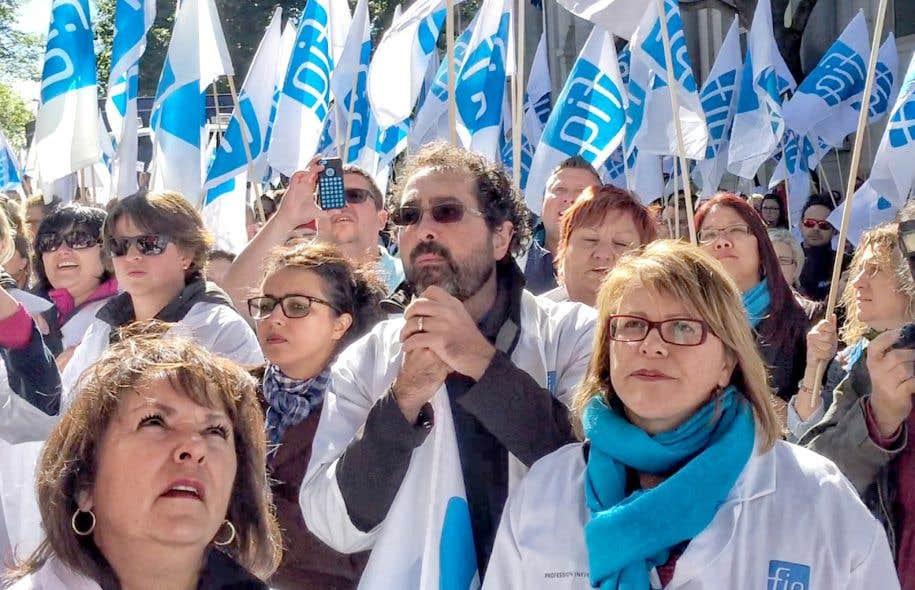 Manifestation de la Fédération interprofessionnelle de la santé à Québec, le 2 octobre dernier