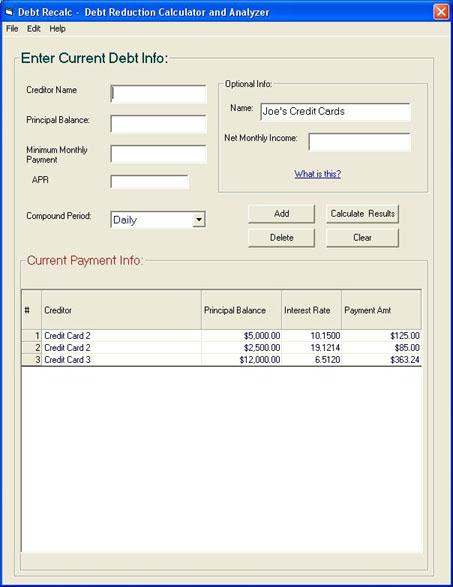 debt reduction snowball calculator. Debt ReCalc