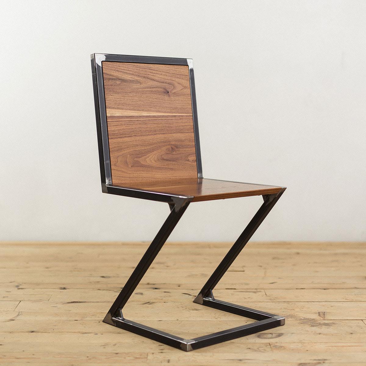 industrial-modern-raw-steel-walnut-wood-z-chair - Canoe There