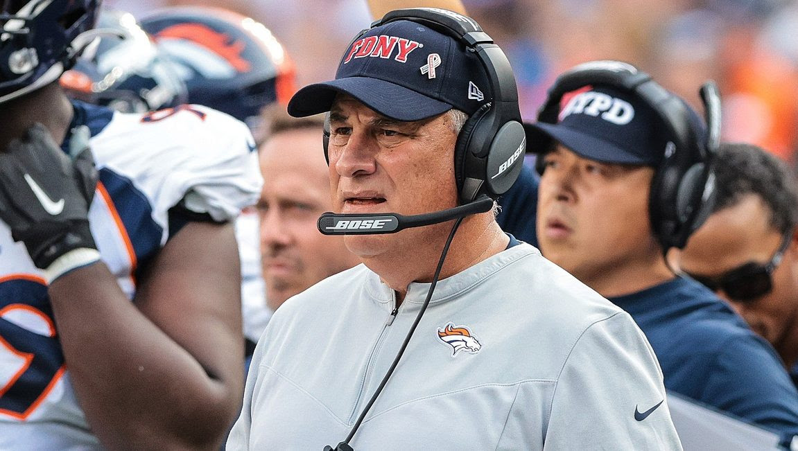 """Vic Fangio: Replay review of Broncos fumble changed when """"the head guy overruled the first guy"""""""