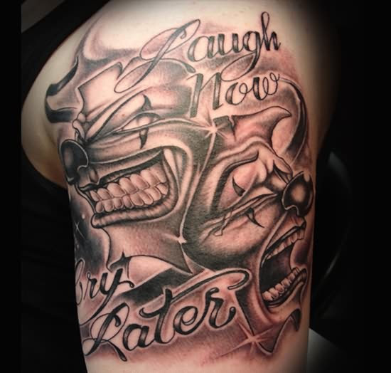 Laugh Now Cry Later Joker Mask Tattoo On Chest Photo 3 2017 Real