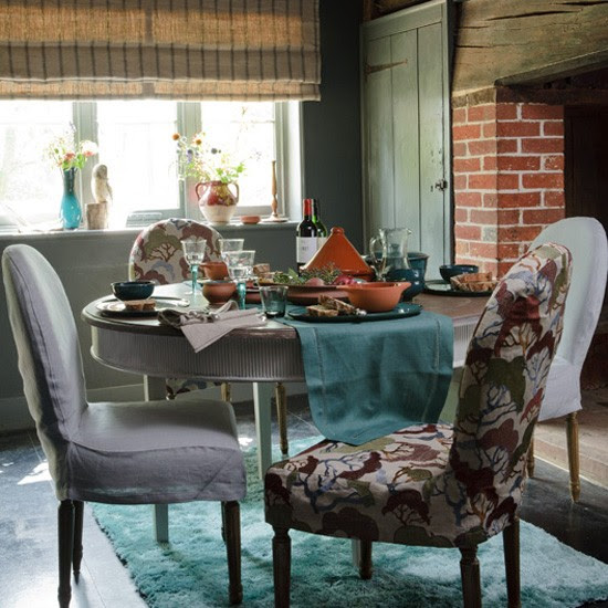 Small country-style living room with teal and grey colour scheme ...