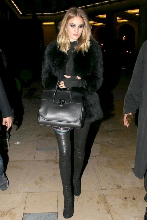 Le Fashion Blog Celebrity Style Rosie Huntington Whiteley All Black Look Fur Coat Leather Pants Boots Via Elle