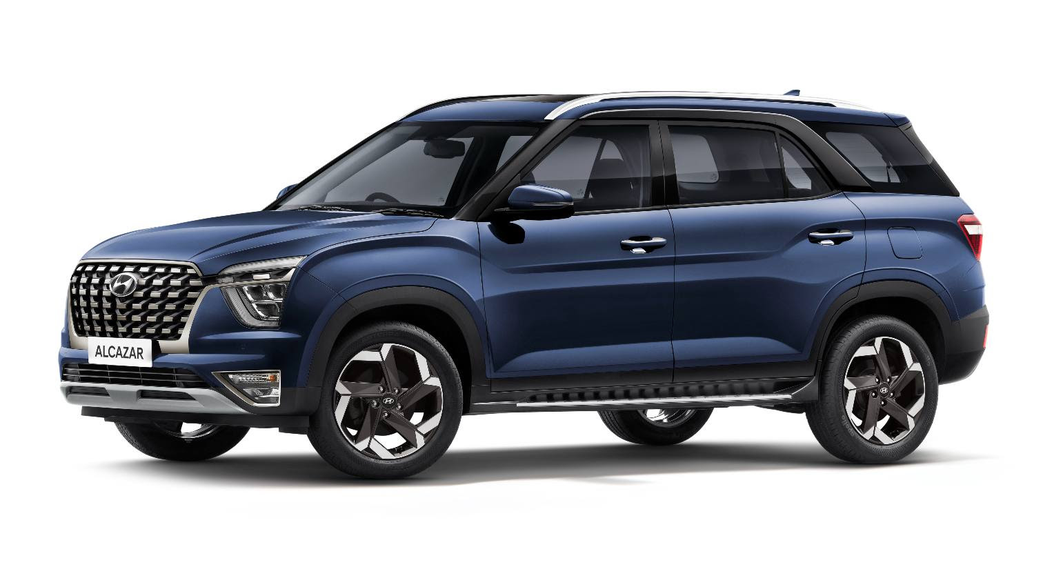 For just a small premium over the price of the Kushaq DSG, one can buy the entry-level Hyundai Alcazar, a substantially larger three-row SUV. Image: Hyundai