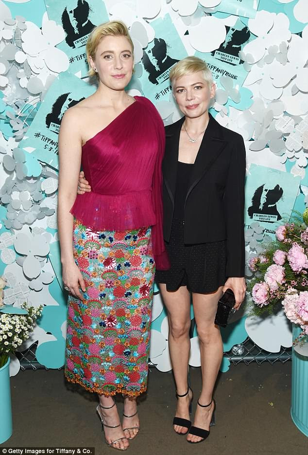 Famous friends: Greta Gerwig joined Michelle for a photo op
