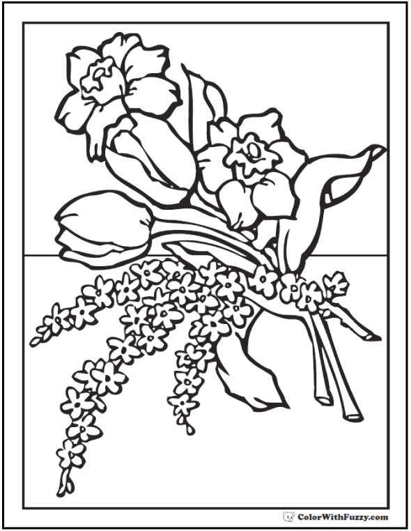 Spring Bouquet of Flowers Coloring Picture