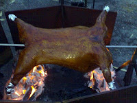 Lamb being barbequed on site