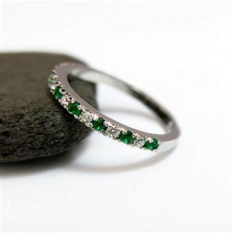 Emerald And Diamond Wedding Ring , Half Eternity Ring