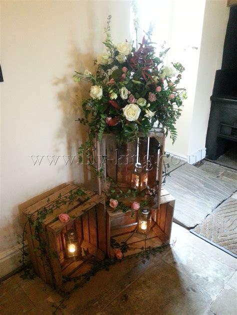 crate layout for either side of ceremony alter   Rustic