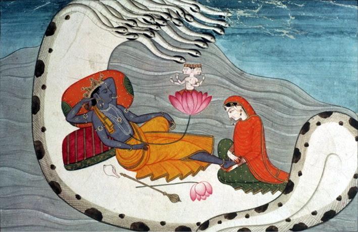 File:Vishnu and Lakshmi on Shesha Naga, ca 1870.jpg