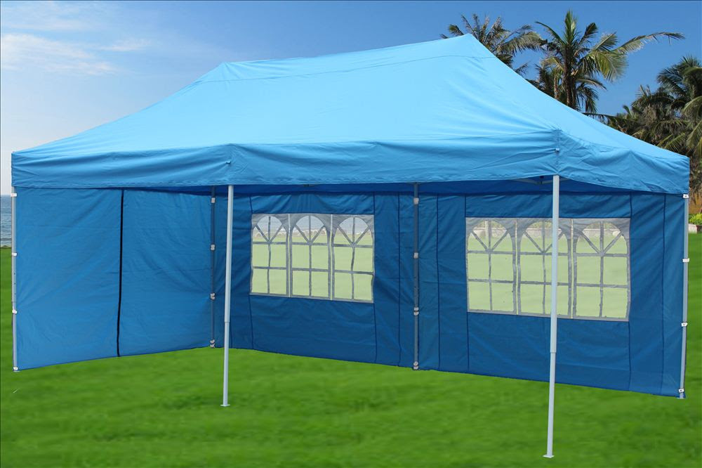 10 x 20 Pop Up Tent Canopy Gazebo w/ 6 Sidewalls - 9 Colors