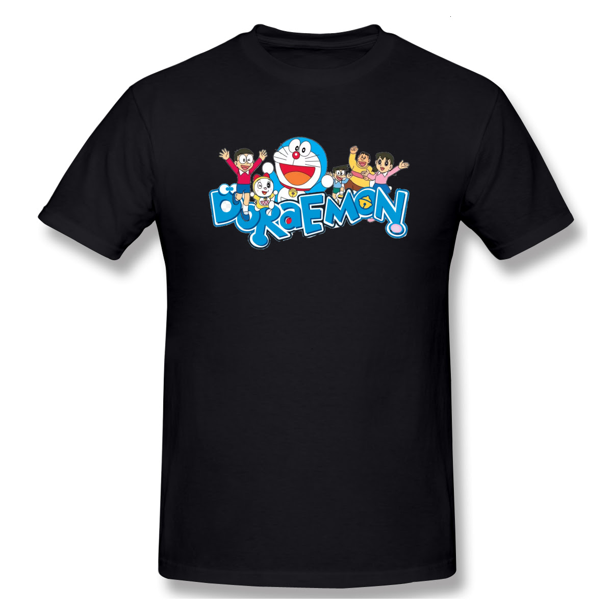 Men T-Shirts Summer Men's Basic Short Sleeve T-Shirt Casual Cotton Doraemon Family printing t shirt men tee shirt 4XL 5XL