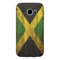 Jamaica Flag on Old Wood Grain Samsung Galaxy S6 Cases
