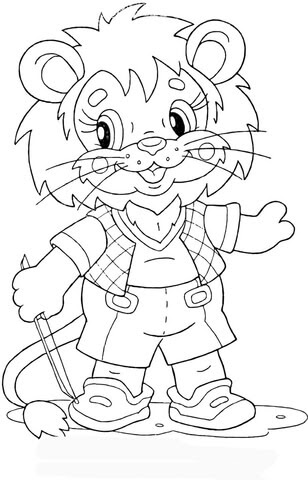 lion cub at school coloring page  free printable coloring pages