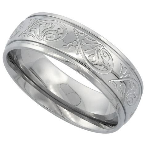 7mm Stainless Steel Engraved on Scrollwork Wedding Band