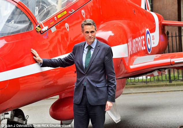 The Defence Secretary (pictured at a Red Arrows even in Downing Street yesterday) raised the spectre of nuclear war as he demanded more investment in the military