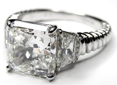 Engagement Ring  Three Stone Radiant Trapezoids Diamond