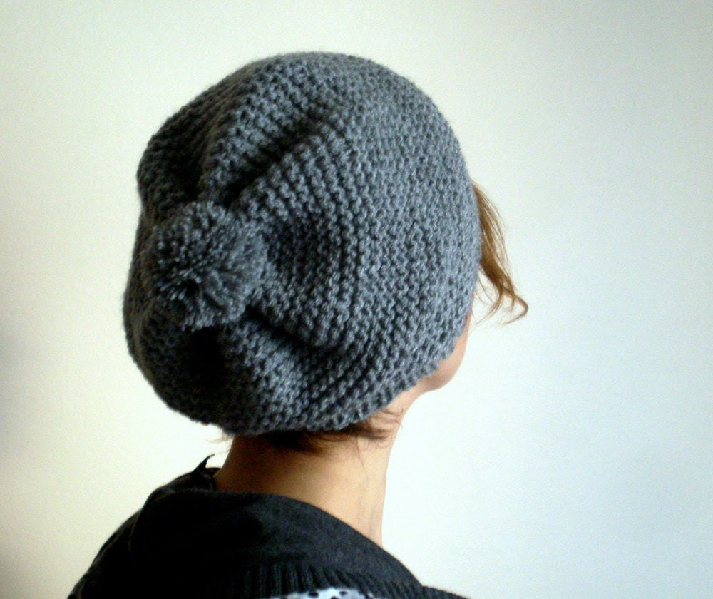 Slouchy Knit Hat with Pompom  Beret Hat in Gray Grey - bysweetmom