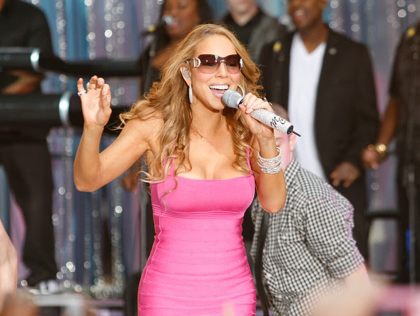 """NEW YORK, NEW YORK - April 25:    Mariah Carey Performs On ABC's """"Good Morning America"""" in Times Square on April 25th in New York."""