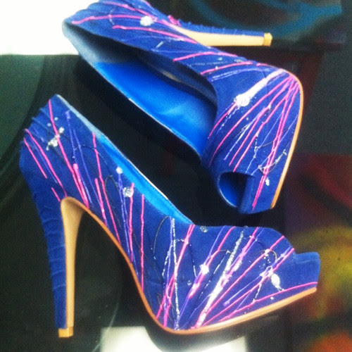 blue suede sprayed shoes