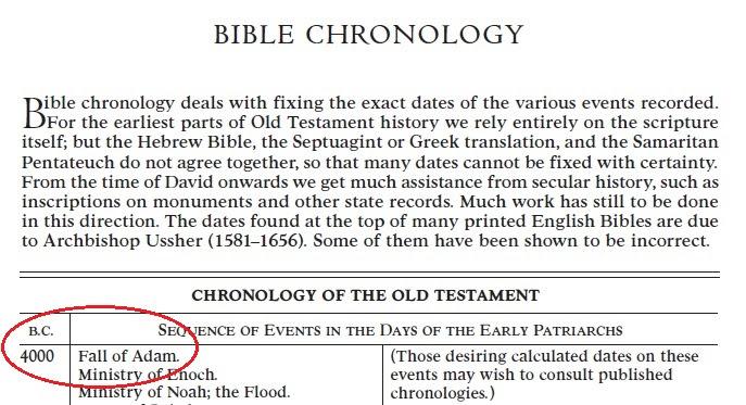 Bible chronology begins at 4000 B.C.