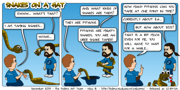 [fedora webcomic: snakes on a hat]