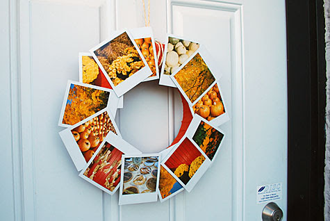 Merriment :: Urban wreath for fall using Polaroids by Kathy Beymer and Heather Crosby