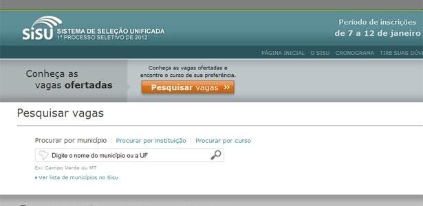 Tela de pesquisa de vagas do site do Sisu 2012. Inscrições começam em 7 de janeiro
