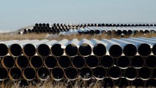Pipes for Transcanada Corp's planned Keystone XL oil pipeline are pictured in Gascoyne, North Dakota in this November 14, 2014 file photo.