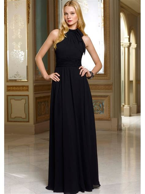A line High Neck Floor Length / Long Black Chiffon