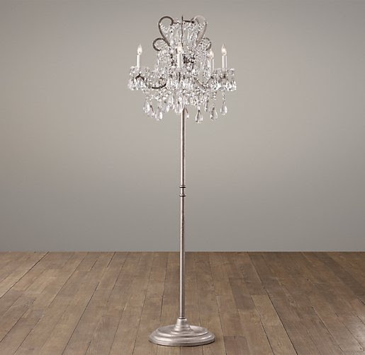 Manor Court Crystal 5-Arm Floor Lamp Aged Pewter | Floor ...