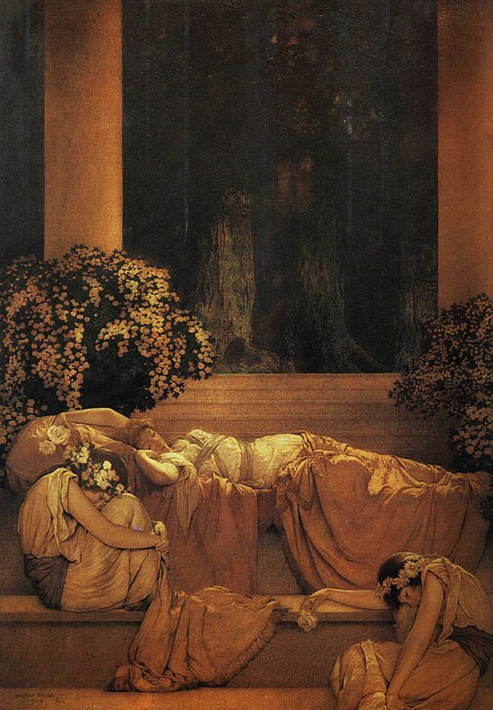 ringoringoringo:Sleeping Beauty by Maxfield Parrish (via Cat Party) tumblr.