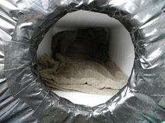 IKEA blanket in Ginga's feral cat box