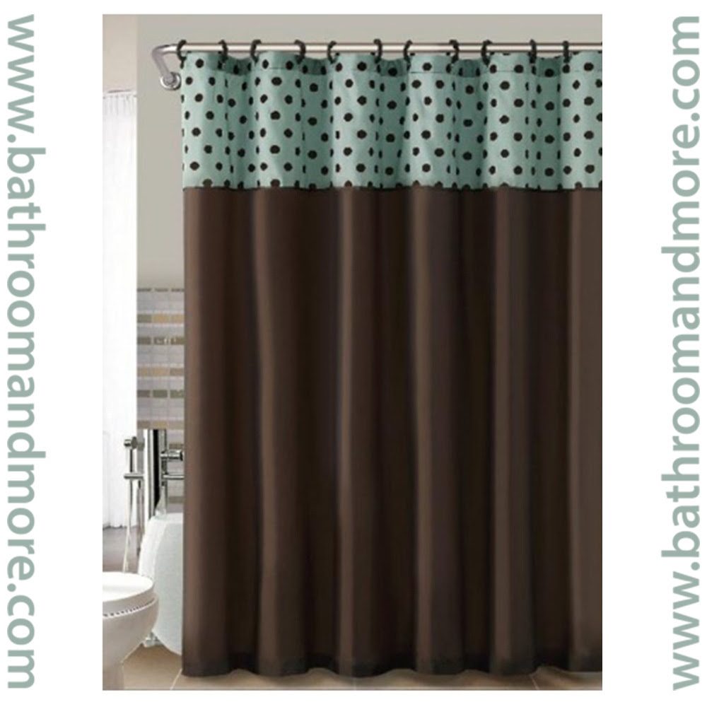 Teal and Brown Flocked Polka Dots Fabric Shower Curtain - Bathroom ...