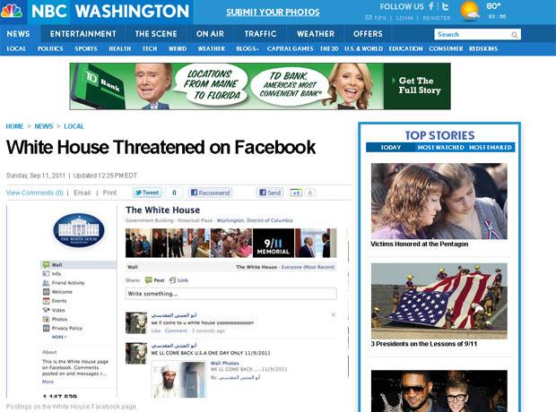 Segundo reportagem da rede NBC, página da Casa Branca no Facebook recebeu ameaças neste domingo (11) (Foto: Reprodução)