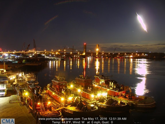 A dazzling fireball lights up the night sky over the Piscataqua River in Portsmouth, New Hampshire on May 17, 2016 in this stunning still image captured by a camera with Portsmouthwebcam.com and provided by Mike McCormack. The meteor was widely visible across the U.S. northeast and the Maine Mineral and Gem Museum is offering a reward for any meteorites from the event.