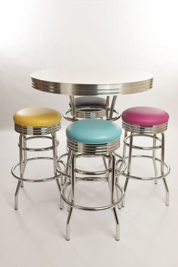 Retro Bar Table and Stools Set