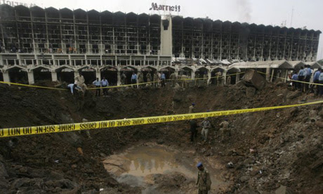 A crater left by a bomb outside the Marriott hotel in Islamabad
