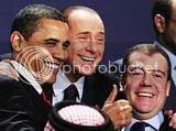 Comrades Barack Obama, Italian Prime Minister Silvio Berlusconi and Russian President Dmitry Medvedev