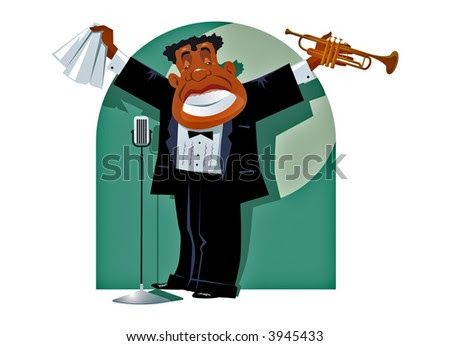 stock vector : Trumpet player on stage. Vector.