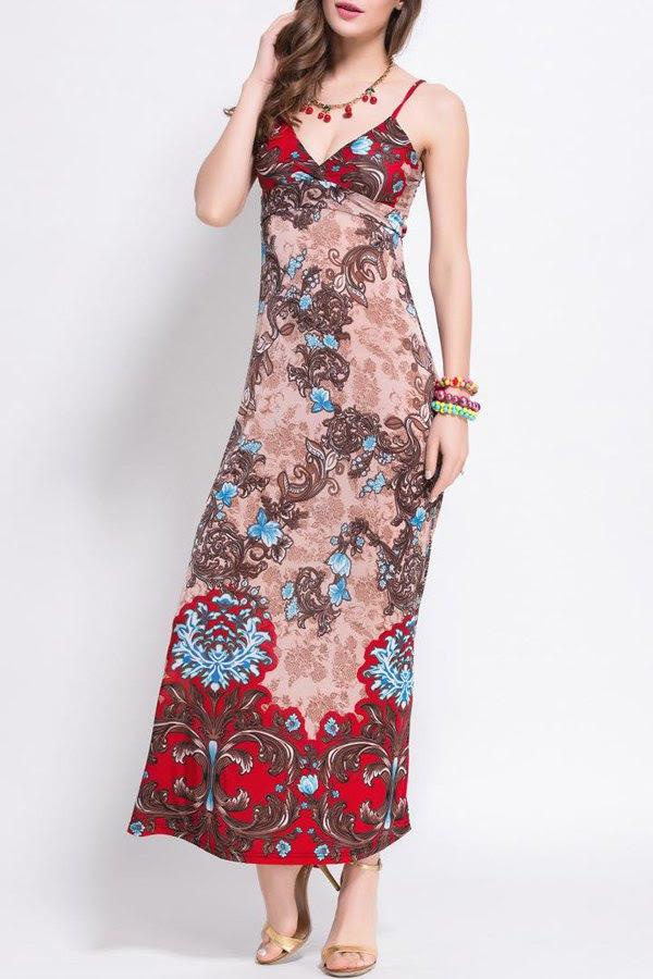 طباعة السباغيتي الأشرطة فستان ماكسي