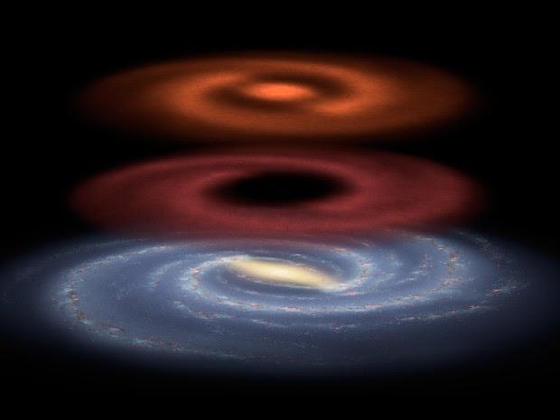 Reservatório de combustível estelar recém descoberto pelo observatório espacial Herschel  (Foto: Nasa/ AFP)